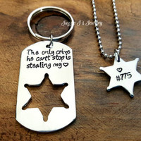 Sheriff Badge Keychain & Necklace Set, Gift for Him, Hand Stamped Sheriff Deputy Gift, Sheriff Deputy/Wife Gift Set