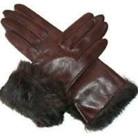Italian Rabbit Fur Cuff Winter Leather Gloves Size 8 1/2 Color BRN By Fratelli Orsini (CC4009)