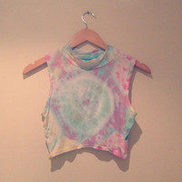 Pastel rainbow tie dye polo neck crop top by CosmikDebrisClothing