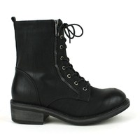 Mark and Maddux Wii-01 Lace-up Combat Boots in Black @ ippolitan.com