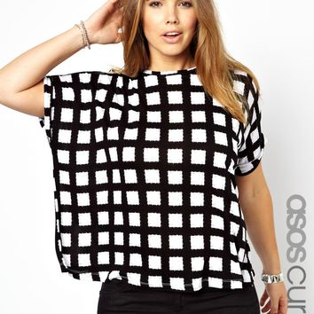 ASOS CURVE Exclusive Boxy Tee In Check Print at asos.com