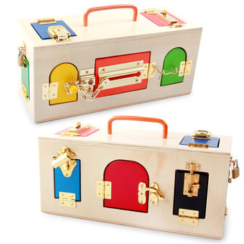 Montessori Wooden Lock Box Memory Game