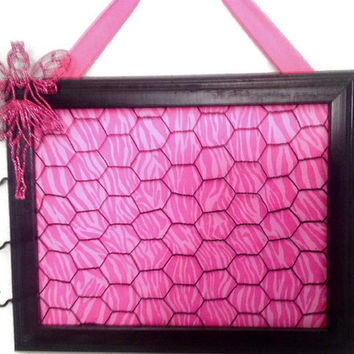 Hair bow jewelry accessory organizer frame wire Hot pink princess fairy black zebra children decor holder bulletin board, children's decor