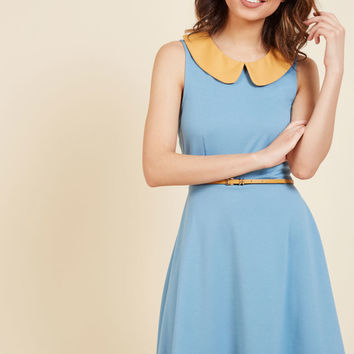 Work to Play A-Line Dress in Sky | Mod Retro Vintage Dresses | ModCloth.com
