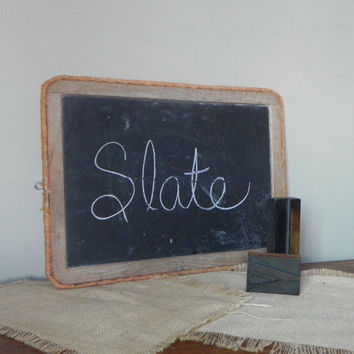 Vintage slateboard slate board with metal hanging rack edges wrapped