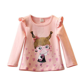 Cute Baby Kids Girl Clothes Long Sleeve Cotton Bottom T-Shirt Blouse Tops Autumn Fashion