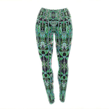 "Danii Pollehn ""Grun"" Green Abstract Yoga Leggings"