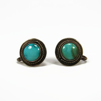 Sterling Silver Turquoise Earrings, Screw Back, Vintage Jewelry, Native American, Southwest Style, Estate Jewelry, Vintage Earrings