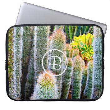 Green cacti photo custom monogram laptop sleeve