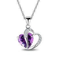 Women Fashion Heart Pendant Necklace Crystal Jewelry