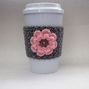 Crochet Flower Coffee Cup Cozy Gray and Pink