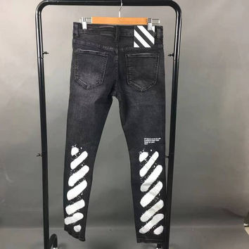 2017 New OFF WHITE ripped biker jeans skinny masticate men destoryed jeans Striped Denim Pants Jeans Balmai Robin Off White Dsq