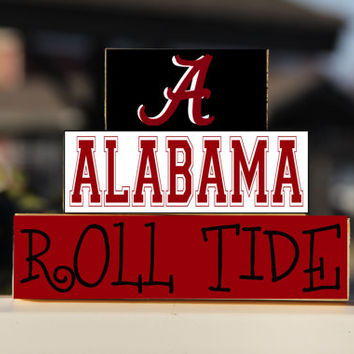 University of Alabama - Trio Wood Blocks Stack - Crimson/White - Home Decor/Gift - Tuscaloosa Alabama  - Roll Tide - Wooden Blocks