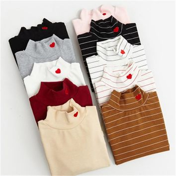 Hearts Mock Turtleneck Sweaters