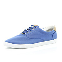 River Island MensBlue canvas lace up plimsolls
