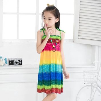Dresses Summer 2017 Girls Bohemian sundress Colorful Beach dress print viscose sleeveless onepiece Robe fille enfant Disfraces