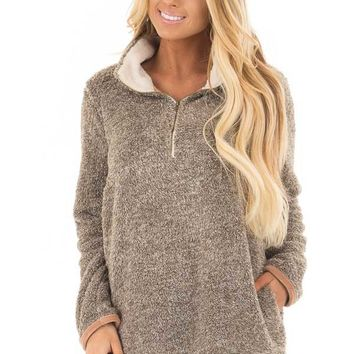 Taupe Two Tone Faux Fur Half Zip Up Sweater