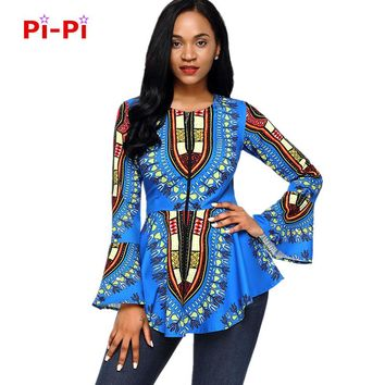 H&D African women's dress when the autumn and winter new round neck speaker long sleeve chest zipper African national printing r