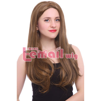 70cm Heat Resistant Fiber Long Straight Mixed Blonde Synthetic Lace Front Wig