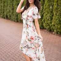 Staying Right Here Hi-Low Floral Midi Dress (Ivory)