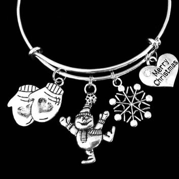 Snowman Merry Christmas Snowflake Mittens Adjustable Bracelet Expandable Charm Bracelet Christmas Bangle Gift Trendy Christmas Jewelry