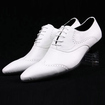 white Bullock Wingtip mens luxury oxford shoes Genuine Leather flat shoes casual party wedding mens business dress shoes