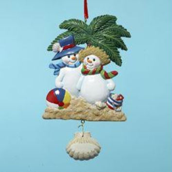 12 Christmas Ornaments - Snowman Couple On Beach