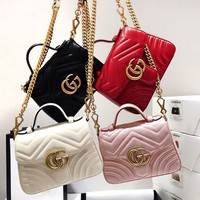 Gucci Fashion Sales Double G Lady V Leather Mini Bag Shopping Bag