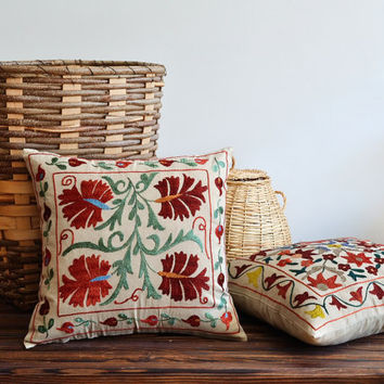 Modern Decorative Uzbek Suzani Pillow
