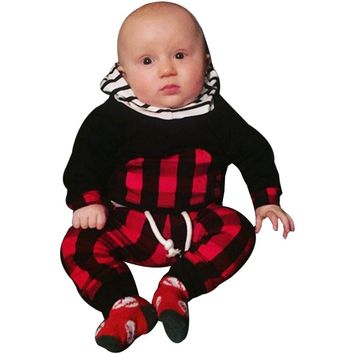 Baby Boy Striped Plaid Hoodie Suit