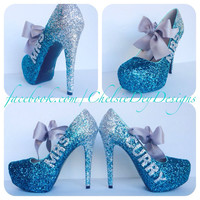 Mrs. Wedding Ombre Glitter High Heels