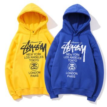Stussy fall winter men's and women's world tour casual slouchy hooded hooded sweater multicolored coat