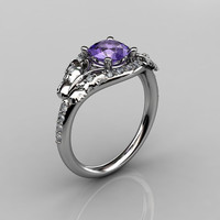 14KT White Gold Diamond Leaf and Vine Amethyst Wedding Ring Engagement Ring NN117-14KWGDAM Nature Inspired Jewelry