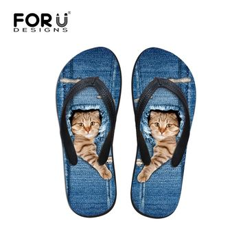 FORUDESIGNS Hot Men's Flip Flops Cute Denim Animals Cat Printed Men Slippers Summer Male Fashion Beach Soft Rubber Sandals Shoes