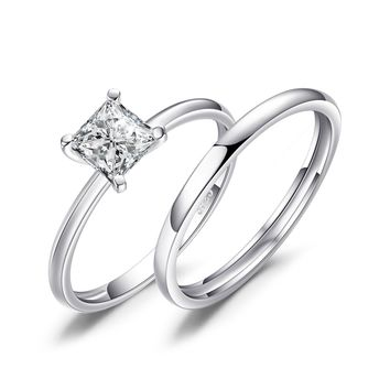 Jewelry Palace Princess Cut 0.6ct Cubic Zirconia Wedding Band Solitaire Engagement Ring Bridal Sets 925 Sterling Silver