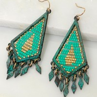 Teal & Gold Beaded Dangle Earring
