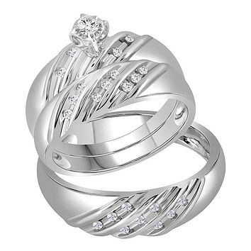 14kt White Gold His & Hers Round Diamond Round Matching Bridal Wedding Ring Band Set 1/4 Cttw - FREE Shipping (US/CAN)