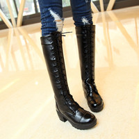Lace Up Motorcycle Boots High Heels Round Toe Knee High Boots Women Shoes
