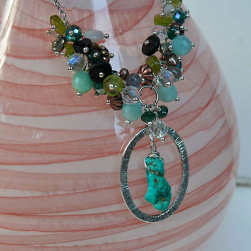 Arizona Turquoise Necklace ROCK Candy Gemstone Jewelry Beaded Cluster by Mermaid Tears Hawaii