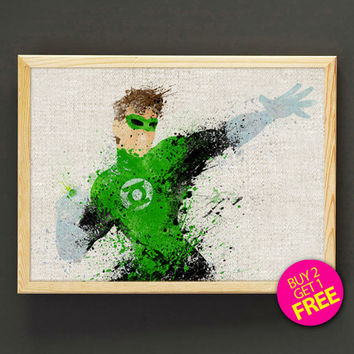 Green Lantern Watercolor Art Print DC Comic Justice League Poster House Wear Wall Decor Gift Linen Print - Buy 2 Get 1 FREE - 88s2g