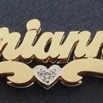 Personalized  Gold Overlay  Double 3d Name Plate Necklace Free Chain  /q1
