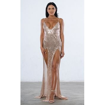 Indie XO Mystery Girl Champagne Semi Sheer Sequin Sleeveless Spaghetti Strap Plunge V Neck Backless Double Slit Maxi Dress