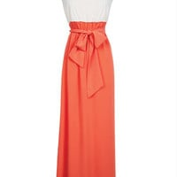 Solid Colorblock Maxi Dress - Coral Multi