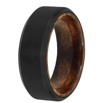 Men's Black Tungsten Wedding Band With Real African Sapele Wood Sleeve - 8mm