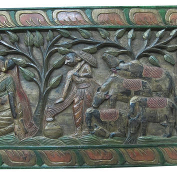 Indian Antique Headboard Radha Krishna Gopis Carved Wall Panels Furniture