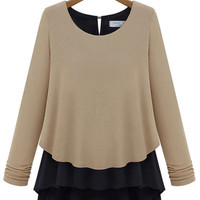 Long Sleeve Chiffon Layered Blouse