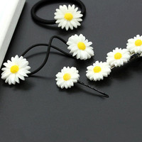 Vivid Daisy Flower Different Types of Headwear Hair Cips Elastic Band Barrettes for Girls Hair Accessories for Women