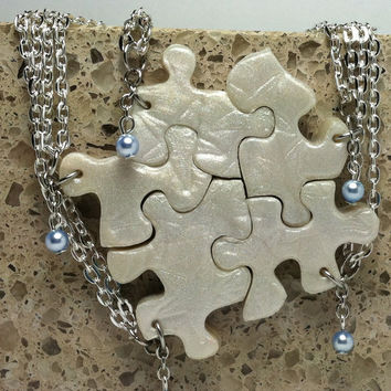Bridesmaid or Best Friend Pendants Swarovski pearls Puzzle Piece Necklace Set of 5  Polymer Clay Starfish pattern Made To Order