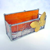 Butterfly Stained Glass Business Card Holder