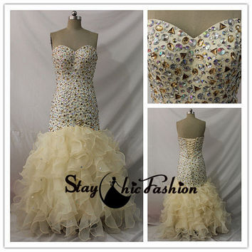 Long Strapless Champagne Rhienstone Beaded Ruffled Mermaid Evening Dress